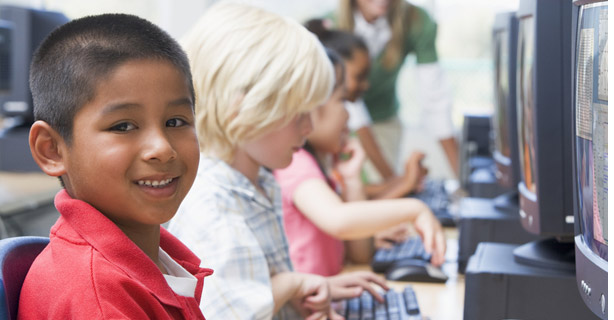 Latino child at computer
