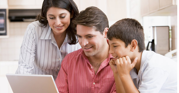 Latino Family at Computer